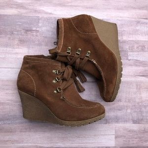 MIA Suede Moccasins Wedge Booties BRISK Size 8